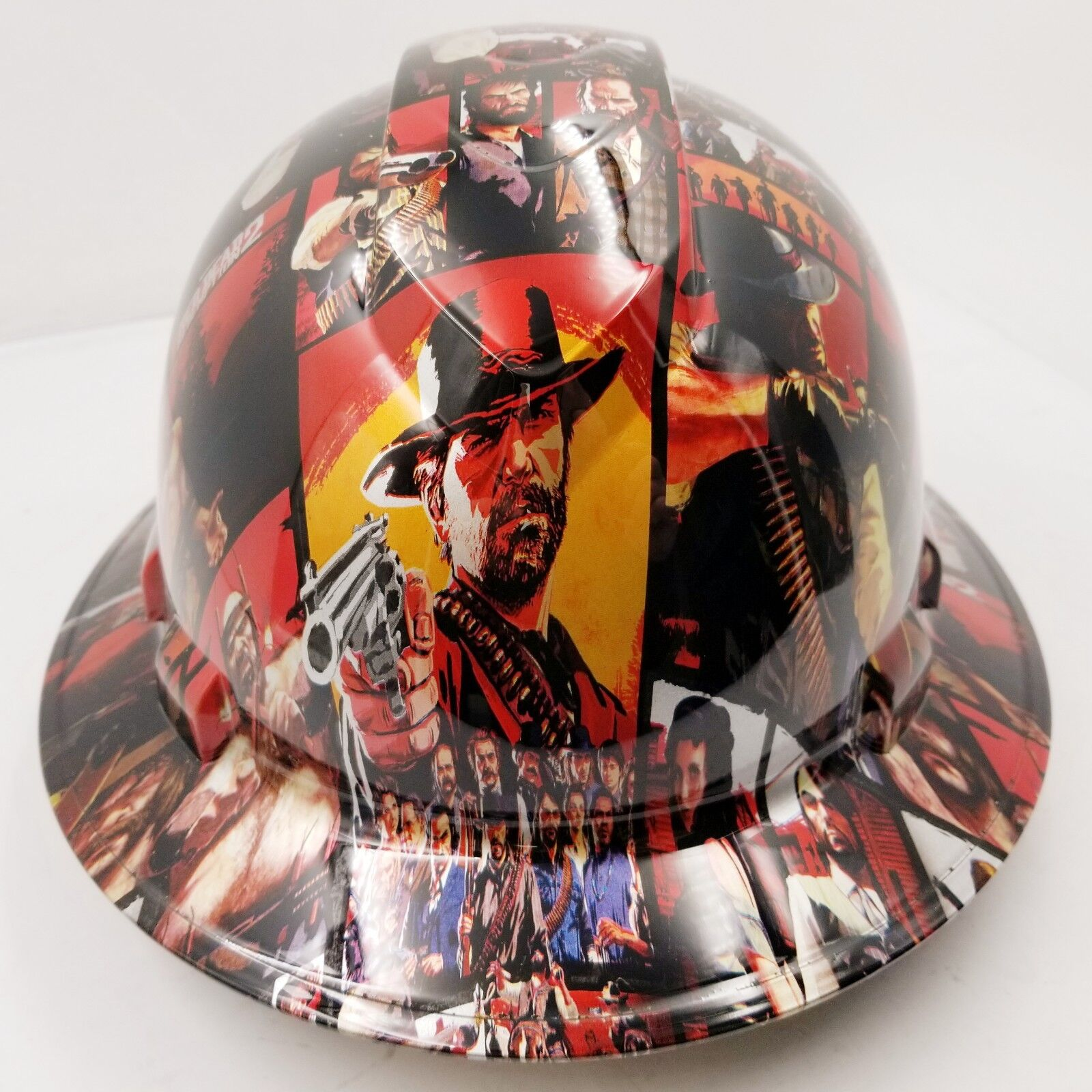 FULL BRIM Hard Hat custom hydro dipped , NEW RED DEAD REDEMPTION 2 OSHA APRVD