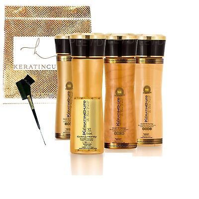 Keratin Cure Best STRONG Hair Treatment Gold & Honey V2 LGEL 5oz Kit Dry