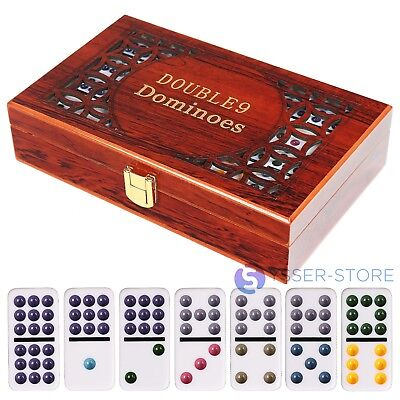 Luxury Double Nine 9 Doble Nueve Dominoes Traditional Board Game Color Dots New.