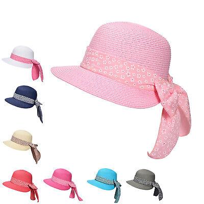Kinder Strohhut Sommer Strandhut Mädchen Sonnenhut Schleife Party Urlaub H1025