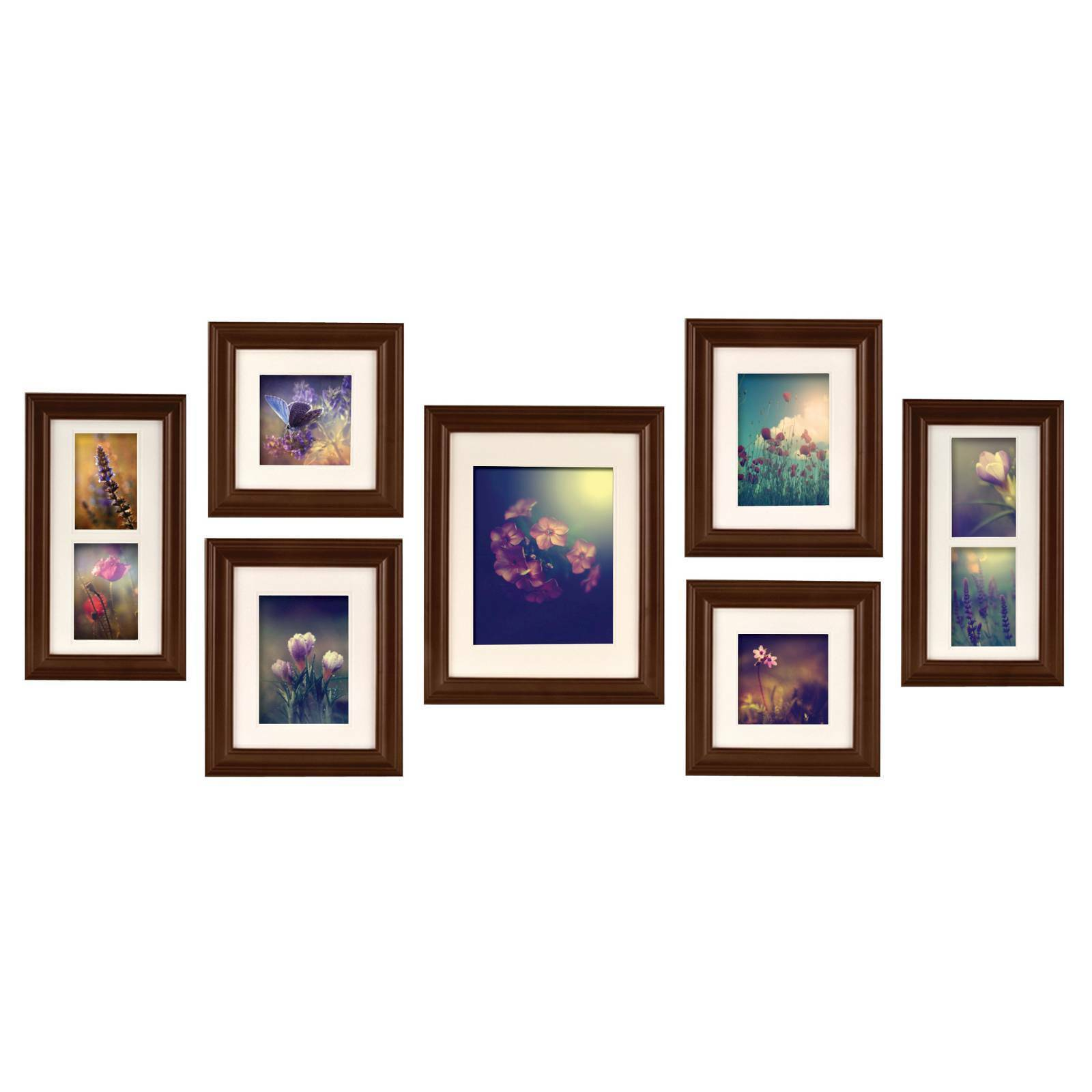 Pinnacle Frames and Accents Photo Frame Set 7pc Walnut Solid Wood | eBay
