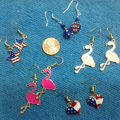 SPARKLING USA RED WHITE BLUE JULY 4th  Star Heart Flamingo Enameled  Earrings