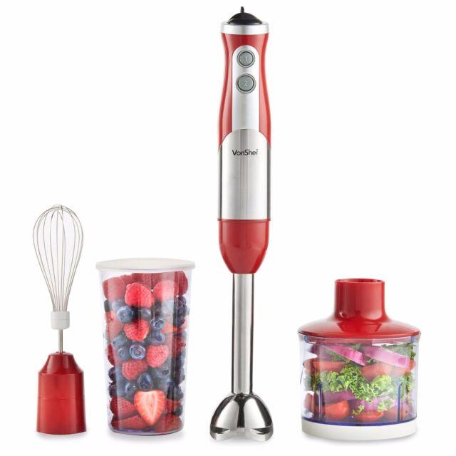 VonShef Hand Blender Mixer Food Processor Red Egg Whisk Beater 800W Juicer