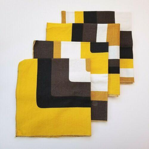 Vintage MCM Mod Geometric Square Cloth Napkins Brown White Black Yellow Gold