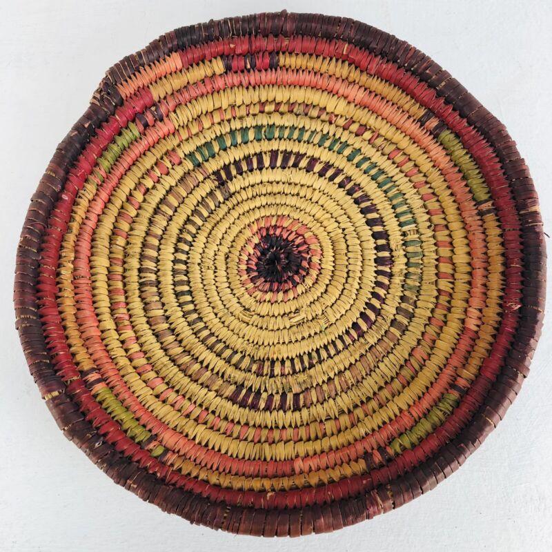 Vintage Antique Native American Handmade Woven Basket Bowl Tray Folk Art