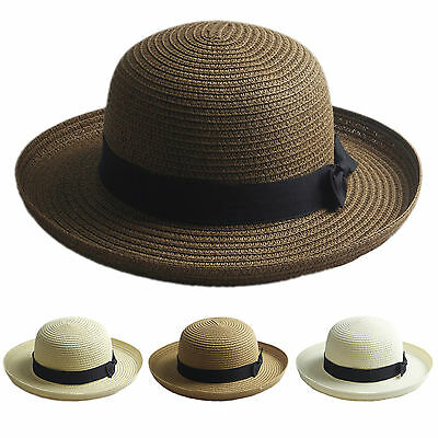 Adult Kids Bowler Derby Upturn Wide Brim Straw Hat Bowknot  Beach Sun Cloche Cap - Kids Derby Hats