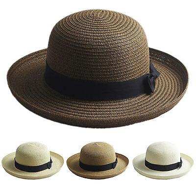 Bowler Hat Kids (Adult Kids Bowler Derby Upturn Wide Brim Straw Hat Bowknot  Beach Sun Cloche)