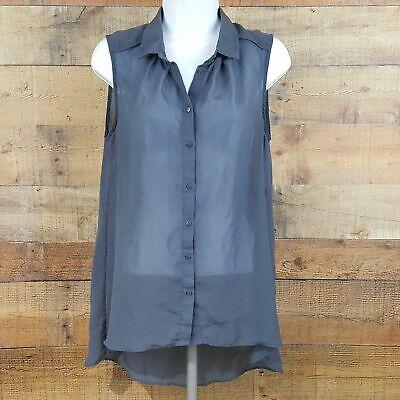 H&M Sleeveless Over Shirt Women's Size 6 Gray D64