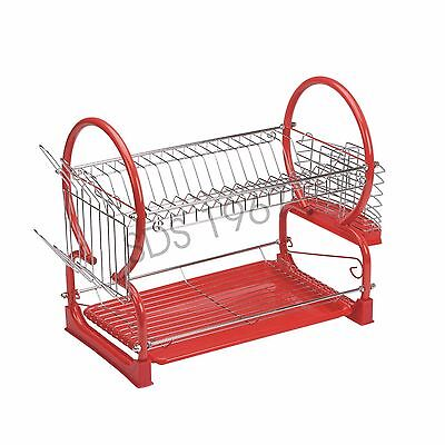 2 Tier Chrome Plate Dish Cutlery Cup Drainer Rack Drip Tray Plates Holder RED