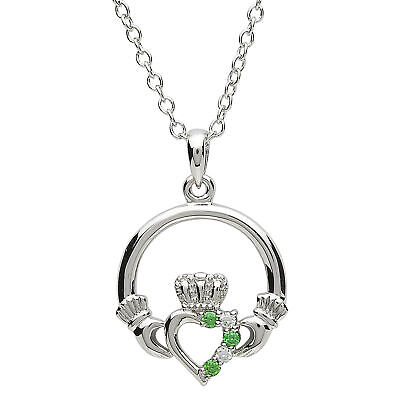 Claddagh White Pendant - Platinum Plated Pendant Claddagh White Cubic Zirconia Round Link Chain
