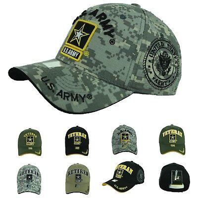 US Army Baseball Cap USA Veteran Retired Hats CAMO Hat