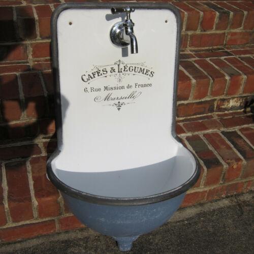 Antique Vintage Cast Iron Garden Foutain Lavabo Porcelain Enamel Basin Sink