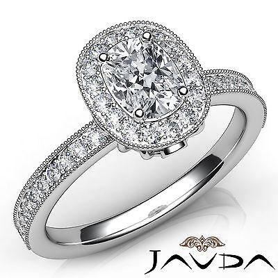 Milgrain Edge Bezel Halo Pave Cushion Cut Diamond Engagement Ring GIA F VVS2 1Ct