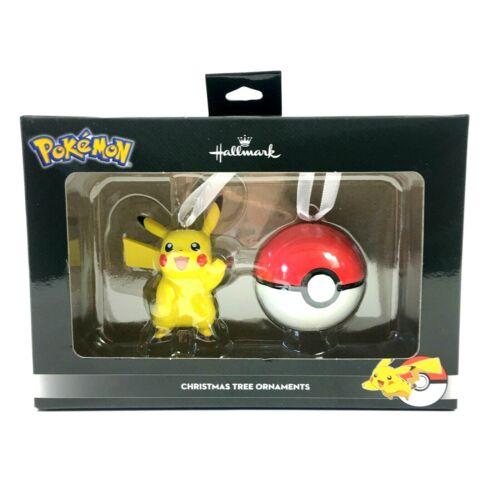 Hallmark Pokemon Christmas Tree Ornaments Pikachu And Pokeball Set