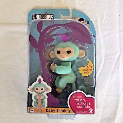 Fingerlings Zoe Turquoise Interactive Baby Monkey Wowwee   New   Free Shipping