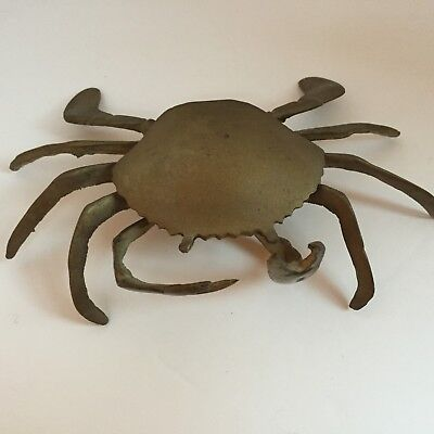 Vintage Solid Brass Crab Ashtray Moveable Claws