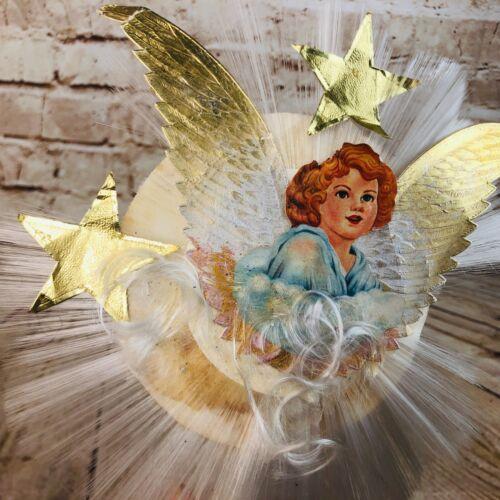 VTG victorial style die cut angel Christmas Tree topper spun glass