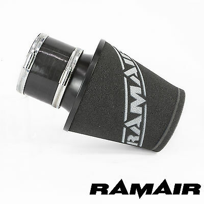 Ramair Black Medium Aluminium Induction Air Filter 100Mm Id Neck And Coupling