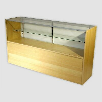 Retail Glass Display Case Half Vision Maple 5 Showcase W Led Light