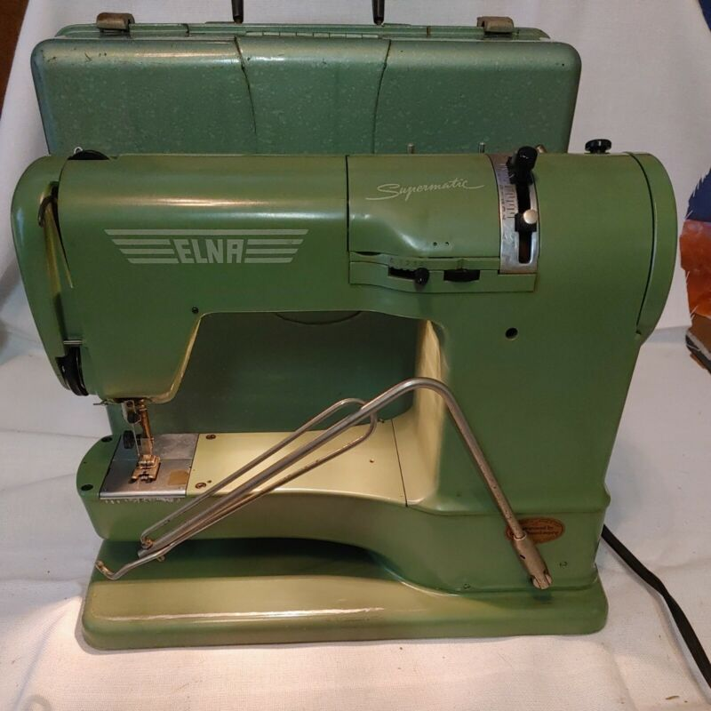 Vintage ELNA Supermatic Sewing Machine 1950s Green With Case AS-IS READ