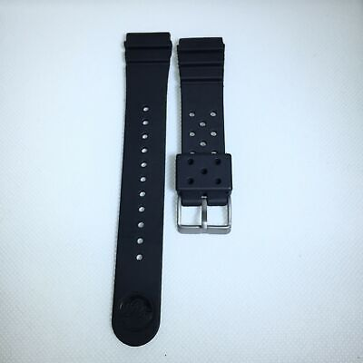 22MM Replacement Black Band Strap Rubber Vent fits SEIKO DIVER Watch w/ pin