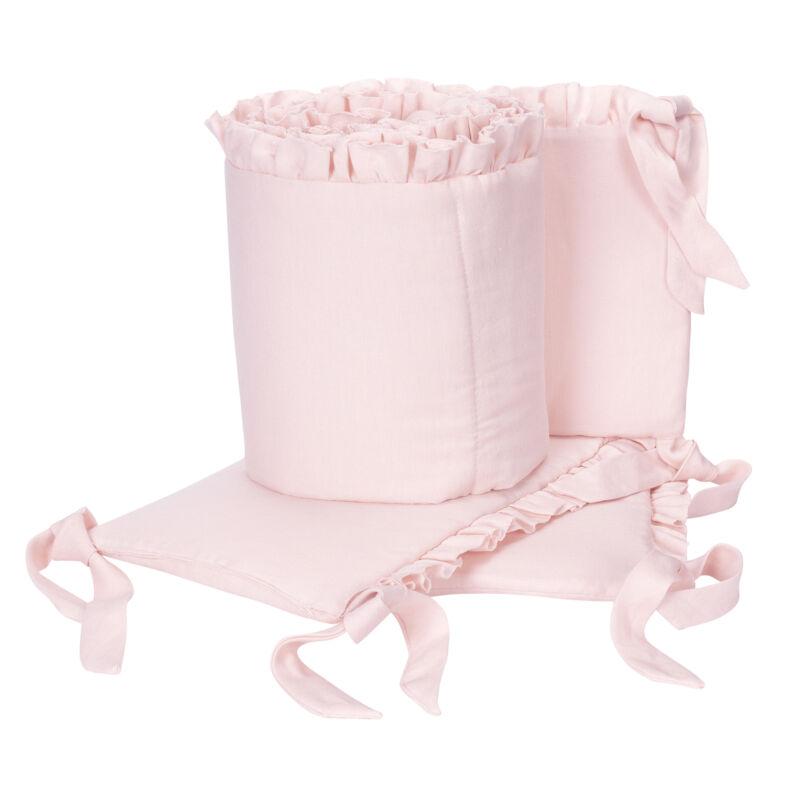Lambs & Ivy Floral Garden Pink Linen Blend 4-Piece Baby Crib Bumper Pads