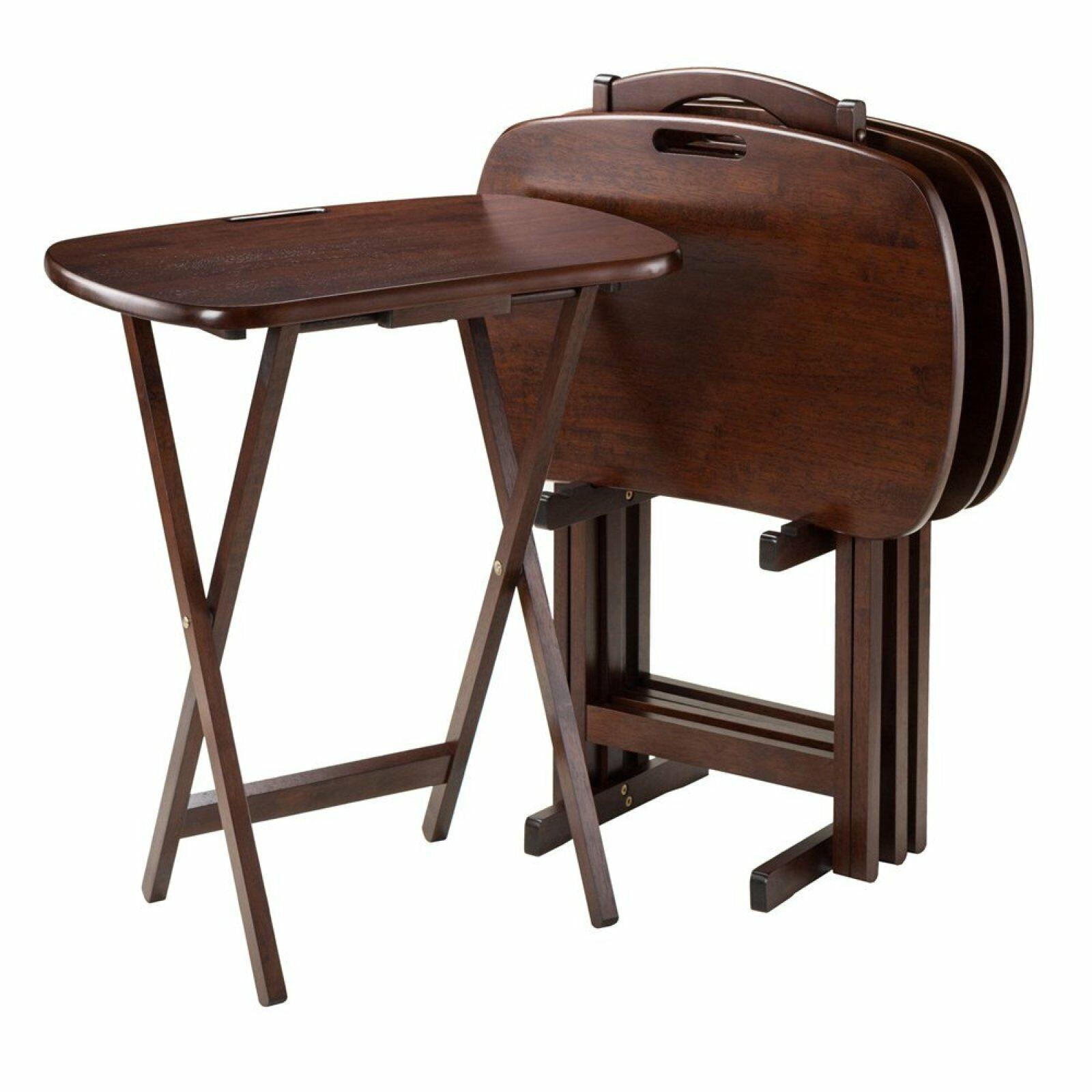 Tv Tray Table Set W Handle Storage Folding Portable Table