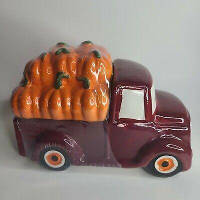"""Red Farm Truck Pumpkins Cookie Jar Fall Ceramic New 9""""x6"""" Autumn Harvest Decor"""