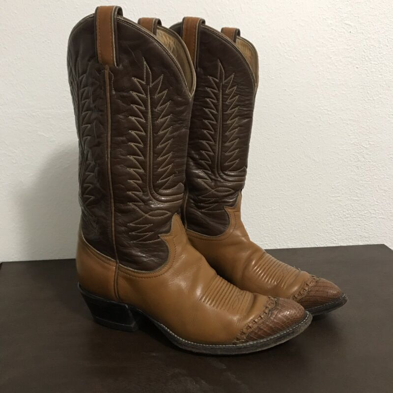 f3d88a5667e Mens Tony Lama Lizard Skin Toe Wing Tip Cowboy Boots 6243 Brown Sz 8 B  Vintage
