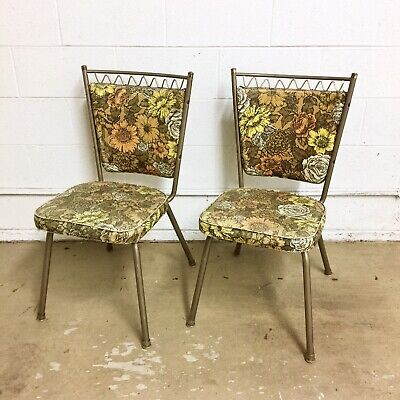 Set Of 2 Vintage Mid Century Yellow Floral Formica Kitchen Dining Chairs Chrome