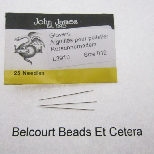 25 Glovers Size 012 Leather Beading Needles John James Use with Size 14-16 Bead