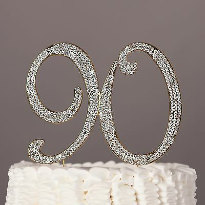 90 Gold Cake Topper 90th Birthday Party Decoration - 90th Birthday Party