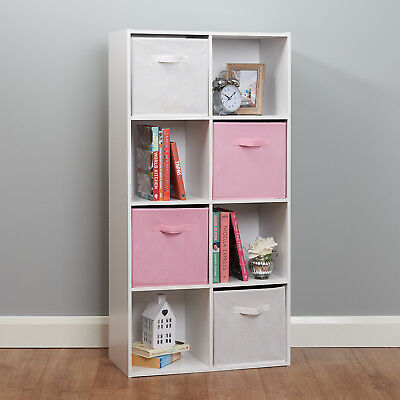 8 Cube Storage Unit White/Pink Boxes Childrens/Kids Bedroom Toy Basket Shelves