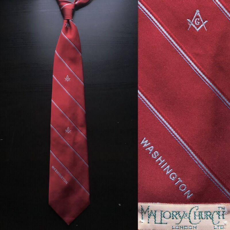 Mallory & Church Washington DC Red Striped Tie EUC Masons Freemasons Masonic