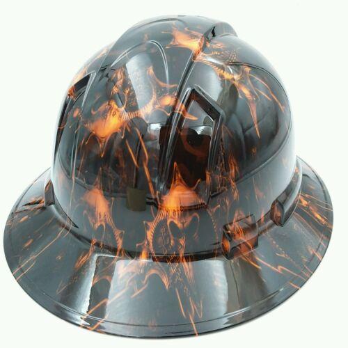 Hard Hat custom hydro dipped , FULL BRIM HELL RAISER SKULLS HI VIS ORANGE 3