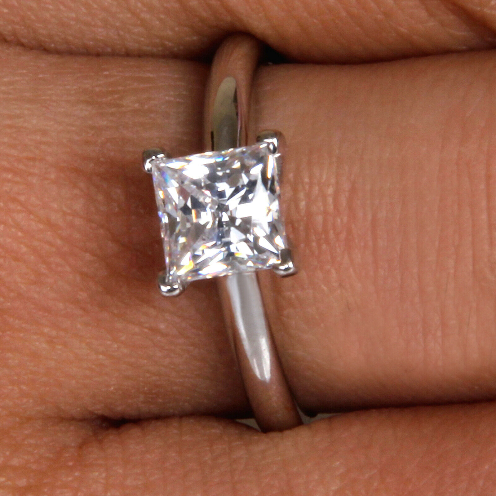 1.85 Carat Princess Shape Solitaire Women's Wedding Ring - 925 Sterling Silver 5