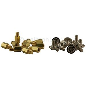 Pack of 10 Brass Motherboard Standoff 6-32 x M3 and 10 Steel M3 screws