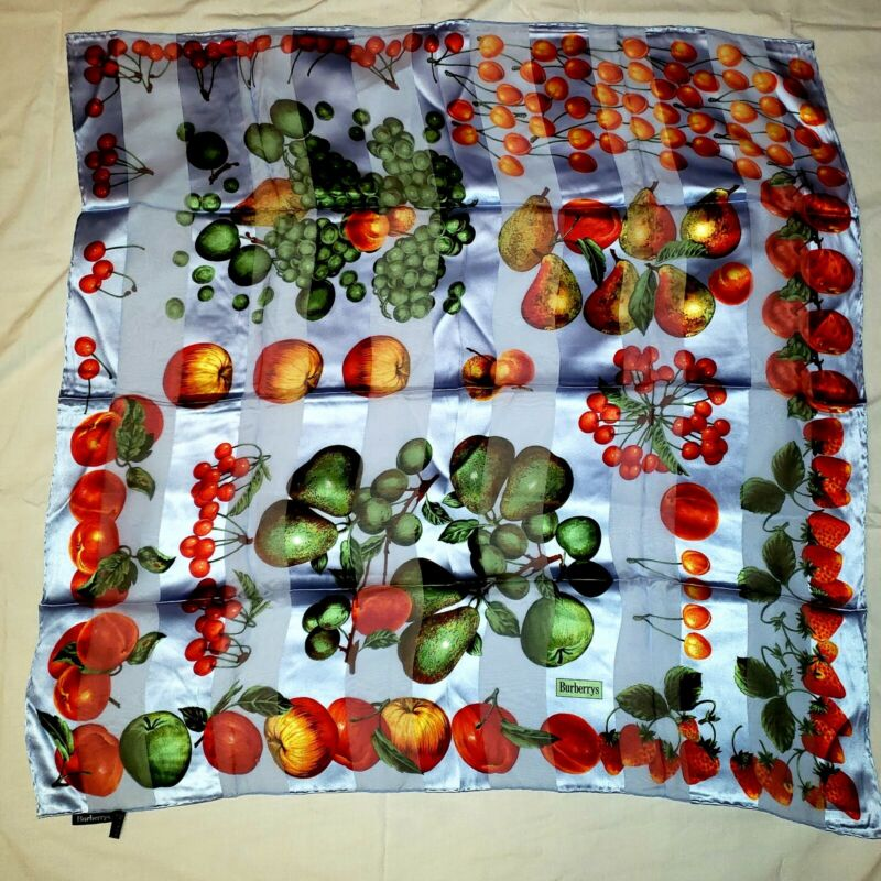 """VINTAGE BURBERRY SILK SCARF 34"""" MADE IN ITALY BLUE SHEER STRIPE FRUIT STRAWBERRY"""