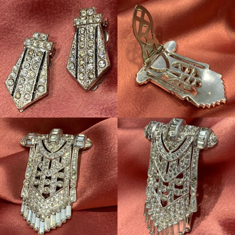 1910-20s Antique/Vintage Art Deco Rhinestone BROOCH/SHOE CLIPS-Silver 3PC
