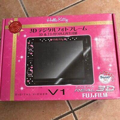 FUJI FILM SANRIO 2D 3D Digital Photo Frame Hello Kitty BLACK Picture Flame NEW Fuji Digital Photo Frames