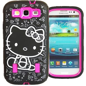 Hello Kitty Hybrid Case for Samsung Galaxy S3 Hot Pink High Impact Bow Cover