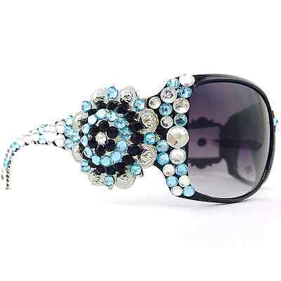 Western Clear Turquoise Black Rhinestone Silver Concho Bling Crystal Sunglasses - Turquoise Sunglasses