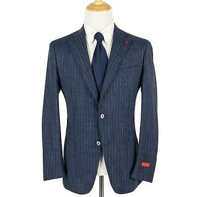 NWT Isaia Dustin Blue Wool Silk Striped Static Unstructured Patch Pkts Suit 40R
