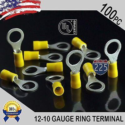 100 Pack 12-10 Gauge 38 Stud Insulated Vinyl Ring Terminals Tin Copper Core Us