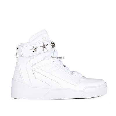 GIVENCHY TYSON HIGH TOP LEATHER SNEAKERS WITH SILVER STARS FREE SHIPPING