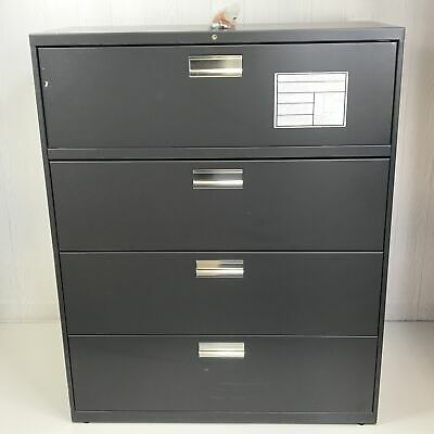 Hon Charcoal 600 Series 42 X 18 X 52.5 4-drawer Lateral File Cabinet Nd4271