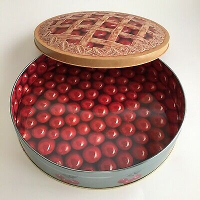 "Vintage Cherry Pie Tin With Lid 10 1/2"" SCC Lattice Work UNIQUE Vivid Graphics"