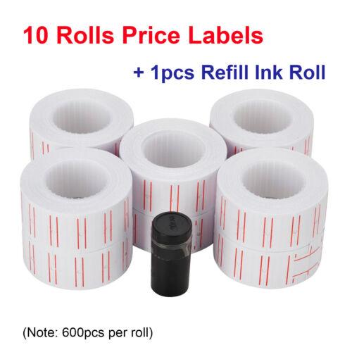 10 Rolls 6000pcs White Price Paper Tag Sticker Gun Labels Refill US For MX 5500