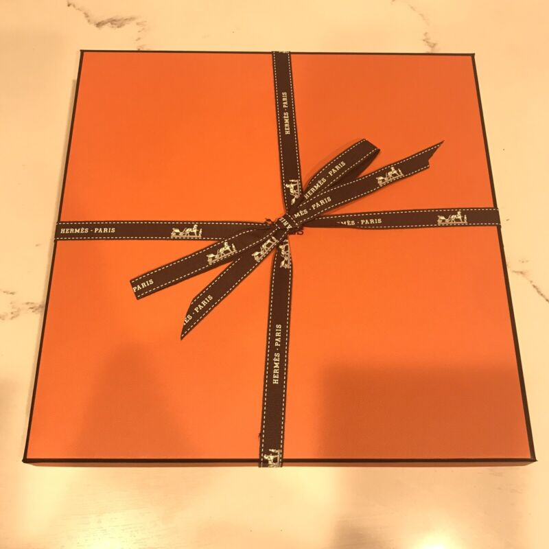 Authentic Hermes Orange Box With Ribbon And Tissue Paper