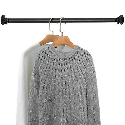 Matte Black Wall Mounted Metal Corner Clothing Hanging Bar Garment Rack